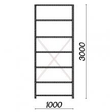 Varastohylly perusosa 3000x1000x400 150kg/hyllytaso,7 tasoa käytetty