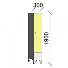 Pukukaappi 1:lla ovella 1900x300x545 lyhytovinen