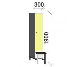Vaatekaappi 1:lla ovella 1900x300x830 jalustapenkillä