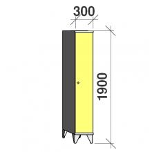 Pukukaappi 1:lla ovella 1900x300x545 pitkäovinen