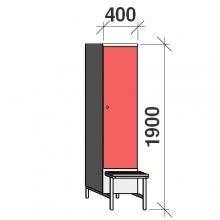 Vaatekaappi 1:lla ovella 1900x400x830 jalustapenkillä