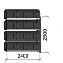 Rengashylly jatko-osa 2500x2400x500, 4 tasoa, 300kg/taso