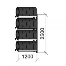 Rengashylly jatko-osa 2500x1200x500, 4 tasoa, 600kg/taso