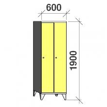 Pukukaappi 2:lla ovella 1900x600x545 pitkäovinen