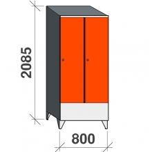 Vaatekaappi 2:lla ovella 2085x800x545 lyhytovinen, viistokatolla