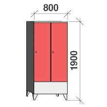Pukukaappi 2:lla ovella 1900x800x545 lyhytovinen
