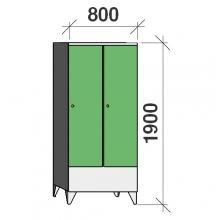 Pukukaappi 2:lla ovella 1900x800x545 lyhytovinen väliseinällä
