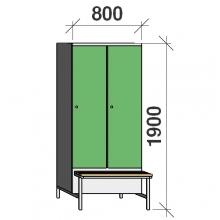 Vaatekaappi 2:lla ovella 1900x800x830 jalustapenkillä väliseinällä