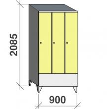 Vaatekaappi 3:lla ovella 2085x900x545 lyhytovinen, viistokatolla