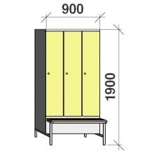Vaatekaappi 3:lla ovella 1900x900x830  jalustapenkillä