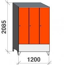 Vaatekaappi 3:lla ovella 2085x1200x545 lyhytovinen, viistokatolla