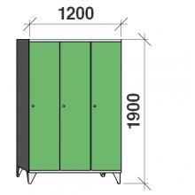 Pukukaappi 3:lla ovella 1900x1200x545 pitkäovinen väliseinällä