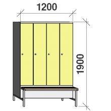 Vaatekaappi 4:lla ovella 1900x1200x830  jalustapenkillä