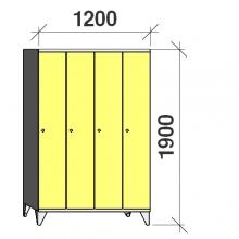 Pukukaappi 4:lla ovella 1900x1200x545 pitkäovinen