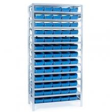 Laatikkohylly 2100x1000x600, 65 laatikkoa 600x180x95