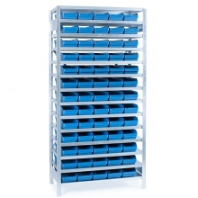 Laatikkohylly 2100x1000x500, 65 laatikkoa 500x180x95
