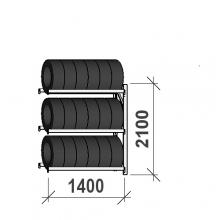 Rengashylly jatko-osa 2100x1400x500, 3 tasoa, 600kg/taso