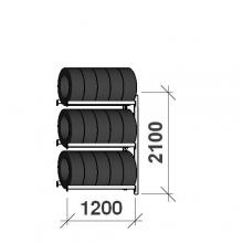Rengashylly jatko-osa 2100x1200x500, 3 tasoa, 600kg/taso