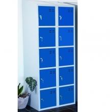 Lokerokaappi 10:lla ovella  1920x700x550  sininen/harmaa