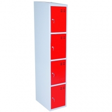 Lokerokaappi 4:lla ovella 1920x350x550  punainen/harmaa