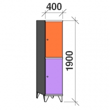 Lokerokaappi 2:lla ovella 1900x400x545 hattuhyllyllä ja vaatetagolla
