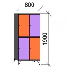 Lokerokaappi 4:lla ovella 1900x800x545 hattuhyllyllä ja vaatetagolla