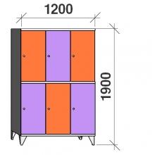 Lokerokaappi 6:lla ovella 1900x1200x545 hattuhyllyllä ja vaatetagolla