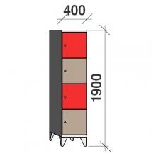 Lokerokaappi 4:lla ovella 1900x400x545