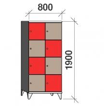 Lokerokaappi 8:lla ovella 1900x800x545