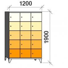 Lokerokaappi 15:lla ovella 1900x1200x545