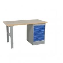 Työpöytä 1600x800 6-osaisella laatikostolla, öljykarkaistu levy