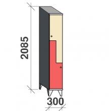 Z-kaappi 2:lla ovella 2085x300x545 viistokatolla