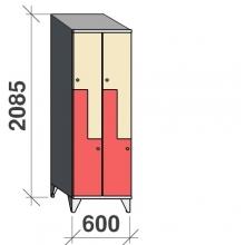 Z-kaappi 4:lla ovella 2085x600x545 viistokatolla