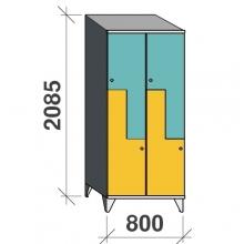 Z-kaappi 4:lla ovella 2085x800x545 viistokatolla