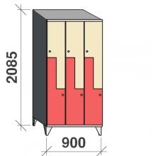 Z-kaappi 6:lla ovella 2085x900x545 viistokatolla