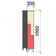 Z-Kaappi 2:lla ovella 1900x300x545 pitkäovinen