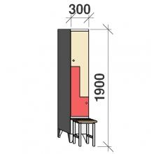 Z- Pukukaappi 2-ovella 1900x300x845 penkillä