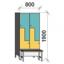 Z- Pukukaappi 4-ovella 1900x800x845 penkillä