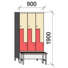 Z- Pukukaappi 6-ovella 1900x900x845 penkillä